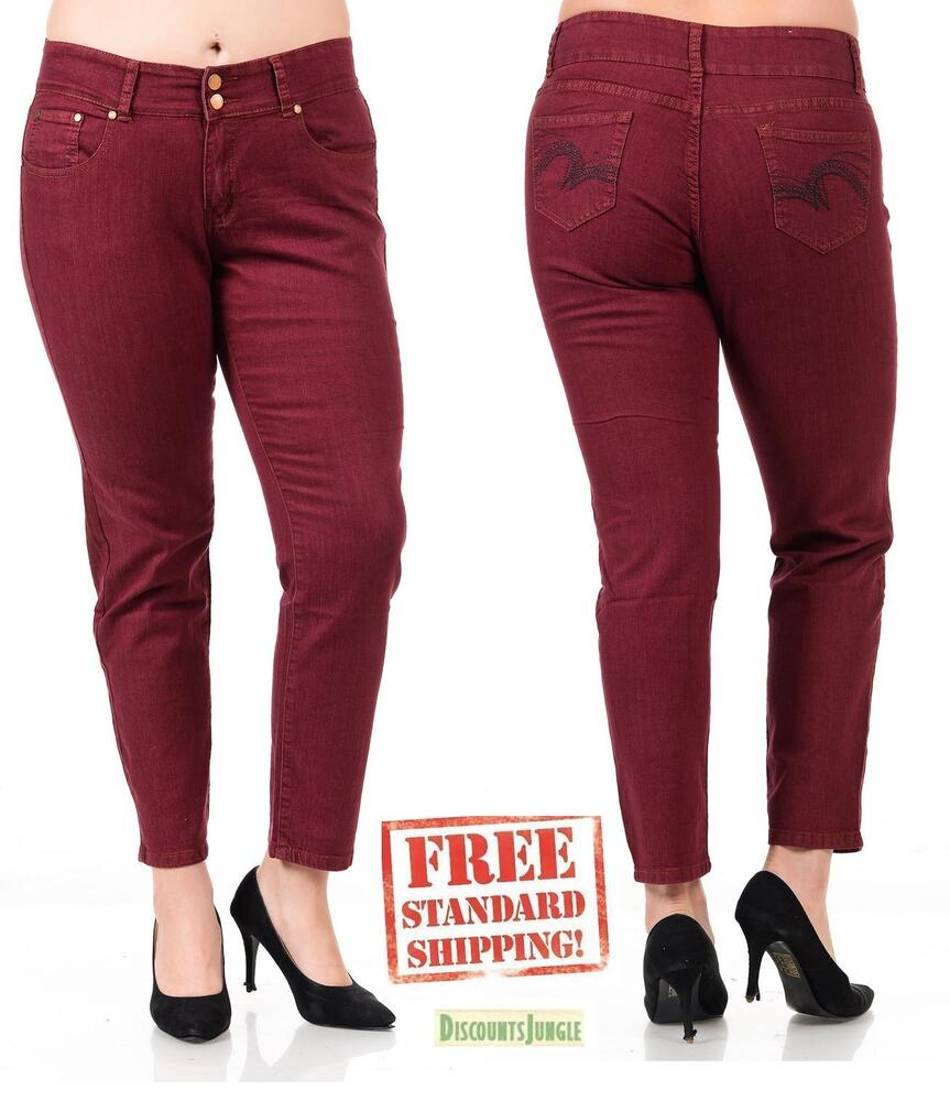 Holystone Womens Plus Size Burgundy Wine Denim Skinny
