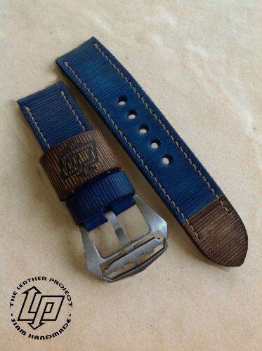 Handmade blue jean color paint leather strap band for for Blue jean paint color