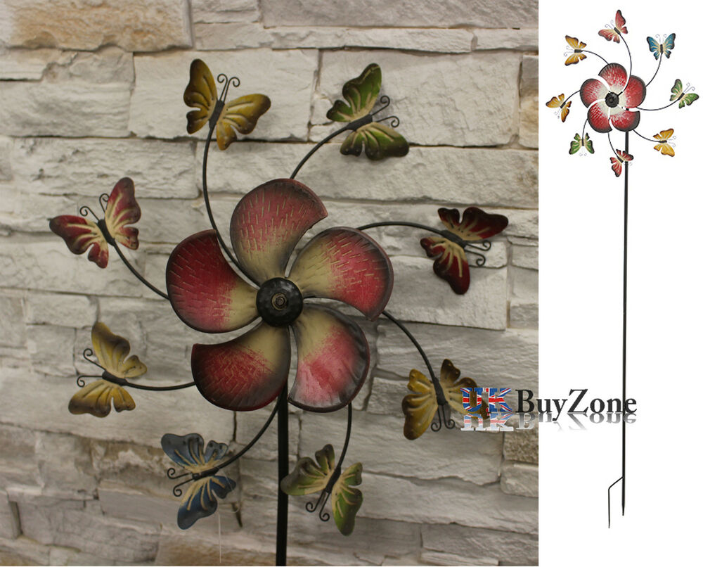 Metal Garden Windmill Butterfly Flower Mobile Ornament