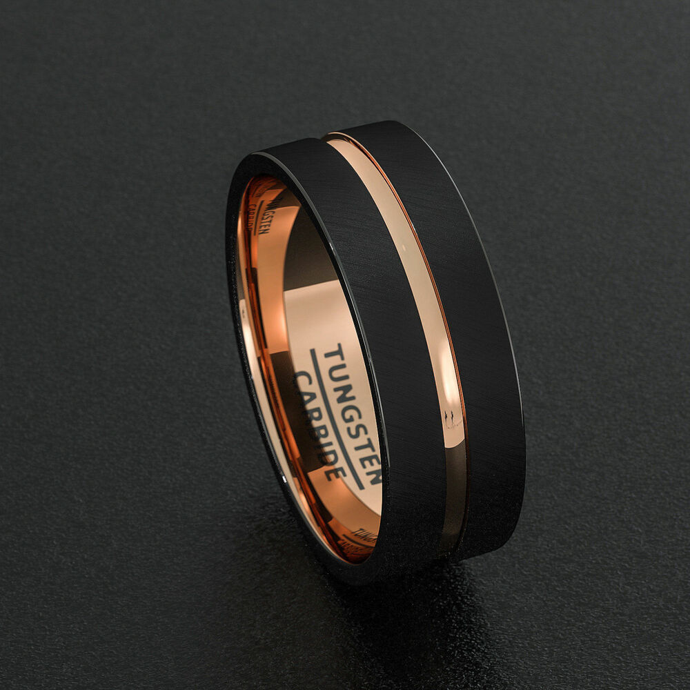 tungsten wedding bands 8mm mens ring black brushed rose. Black Bedroom Furniture Sets. Home Design Ideas