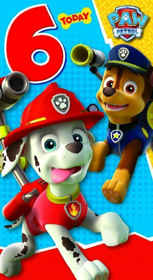 paw patrol age 6 6 today 6th birthday card licensed character birthday card ebay. Black Bedroom Furniture Sets. Home Design Ideas
