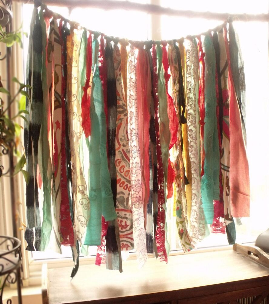 34 Quot Boho Rag Curtain Hippie Gypsy Colorful Fabric Lace