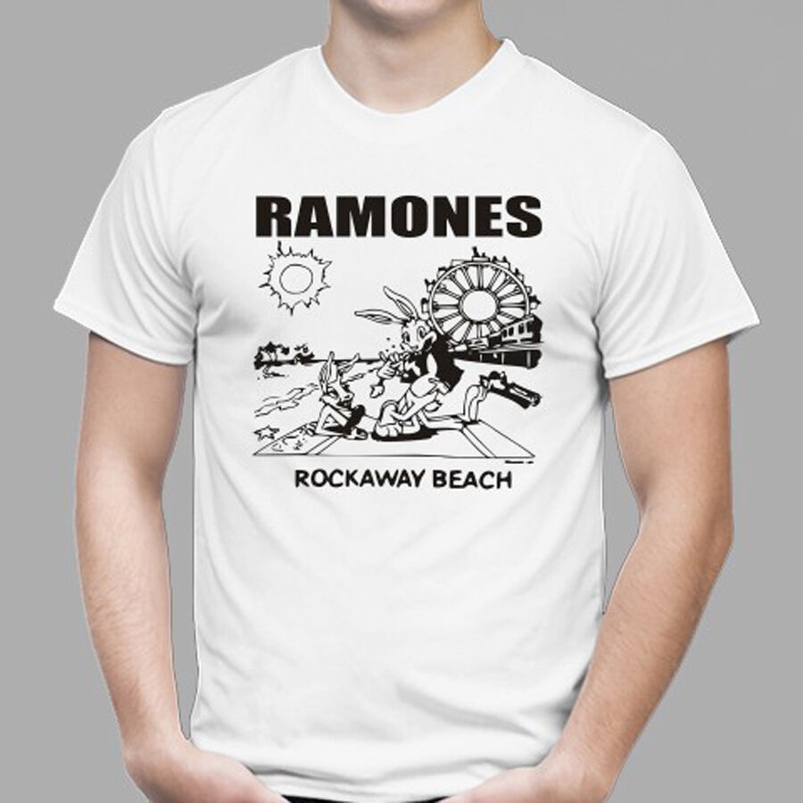 ee13402b Details about THE RAMONES Rockaway Beach Punk Rock Band Men's White T-Shirt  Size S to 3XL