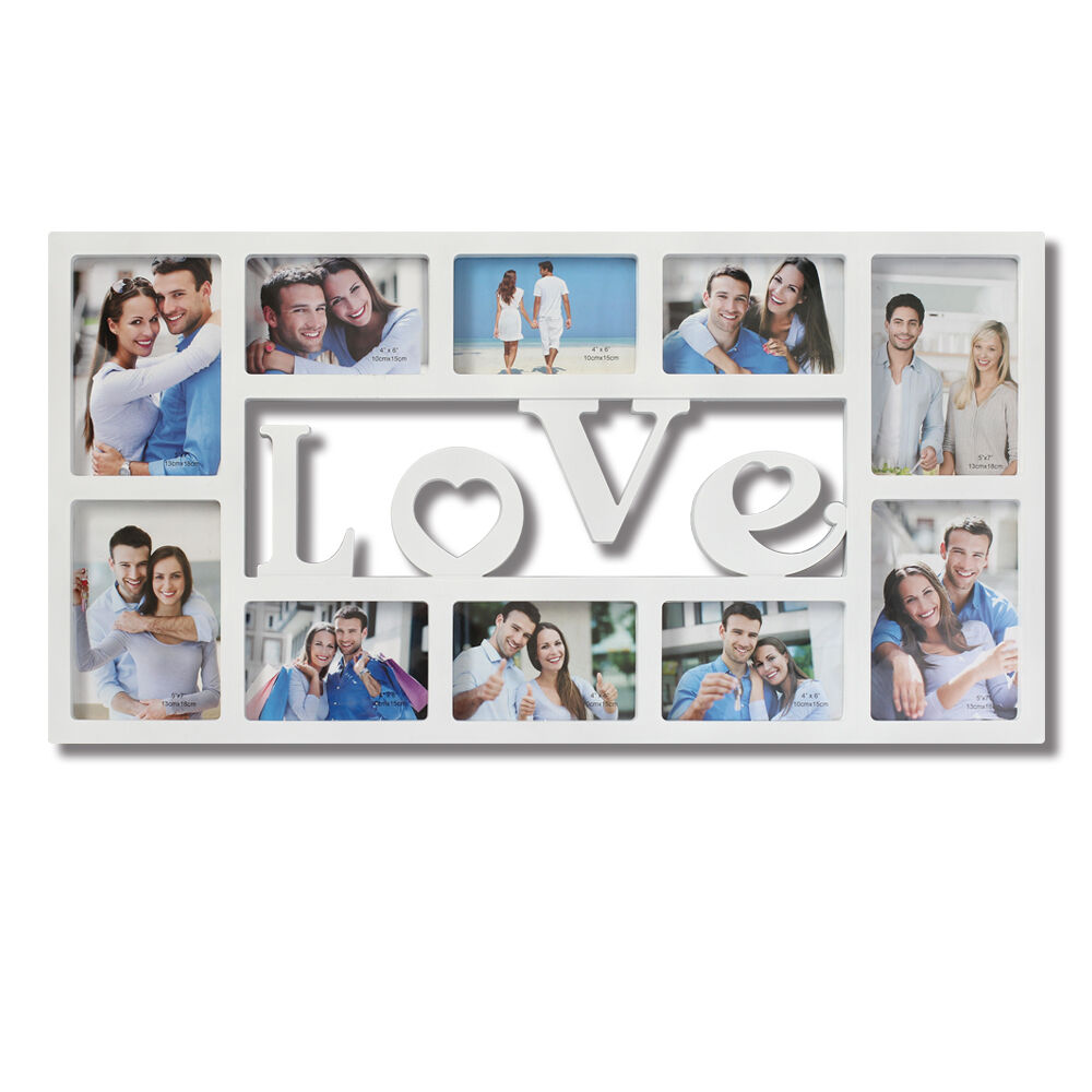 10 Opening Love Collage Picture Wall Hanging Photo Frame Wedding Gift Home Decor