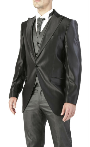 ABITO COMPLETO DA SPOSO UOMO DIAMOND CLASS TIGHT NERO VESTITO GILET E CRAVATTA