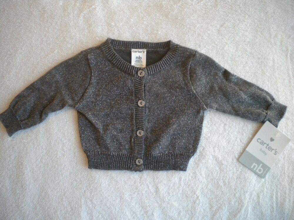 6b2caa32c34 Details about NWT CARTERS GIRLS SPARKLY BUTTON DOWN CARDIGAN SWEATER  NEWBORN   3 MONTHS AVAIL.