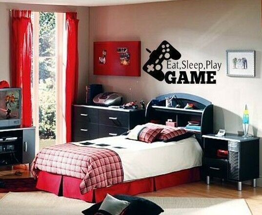 eat sleep play game boy lettering decal wall vinyl decor sticker room sports ebay. Black Bedroom Furniture Sets. Home Design Ideas