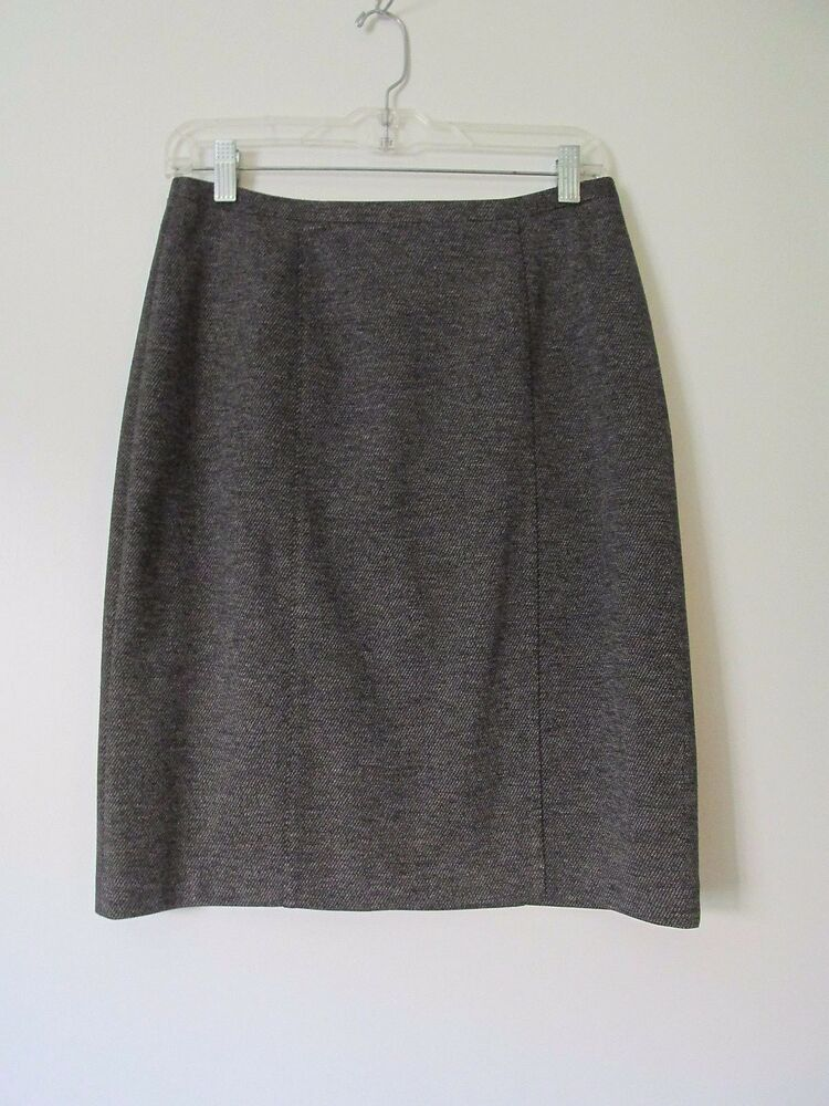 d77aa9b064 Details about Coldwater Creek Black/Gray Tweed Lined Kneelength Pencil Skirt  NWOT SZ: 4