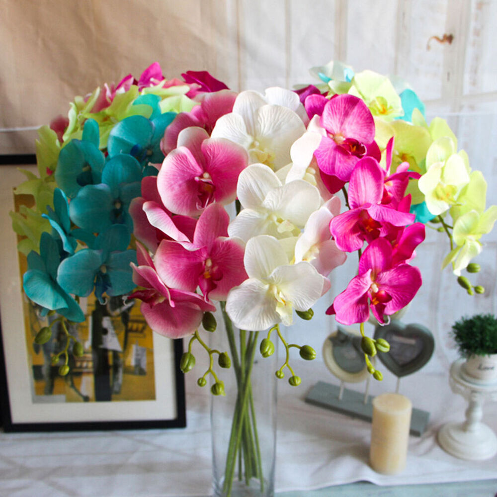 Artificial butterfly orchid silk flower home wedding decor for Artificial flowers decoration home