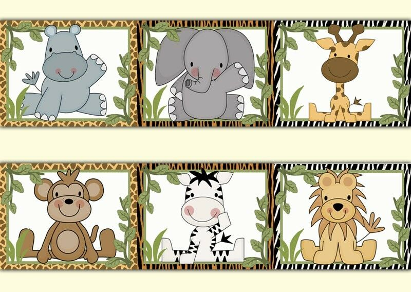 Safari Animal Wallpaper Border Wall Art Decals Jungle Baby