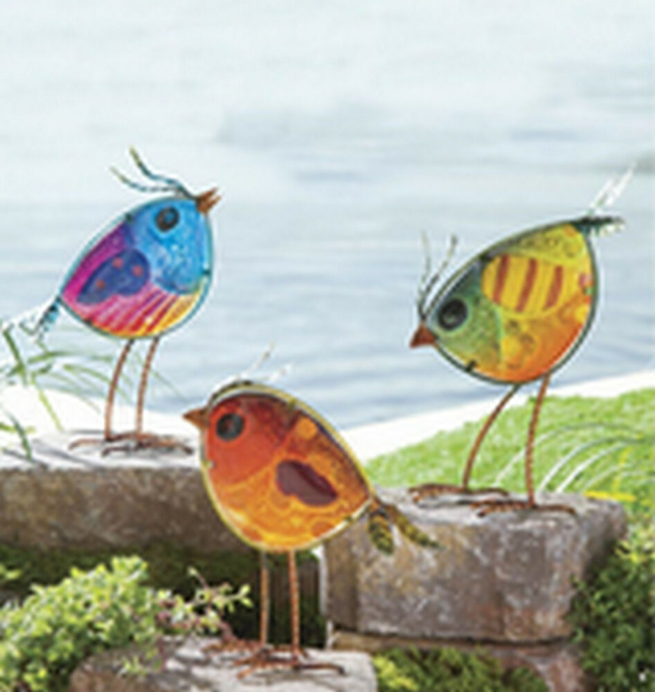 New garden statue yard art set vintage bird outdoor yard for Decorative birds for outside