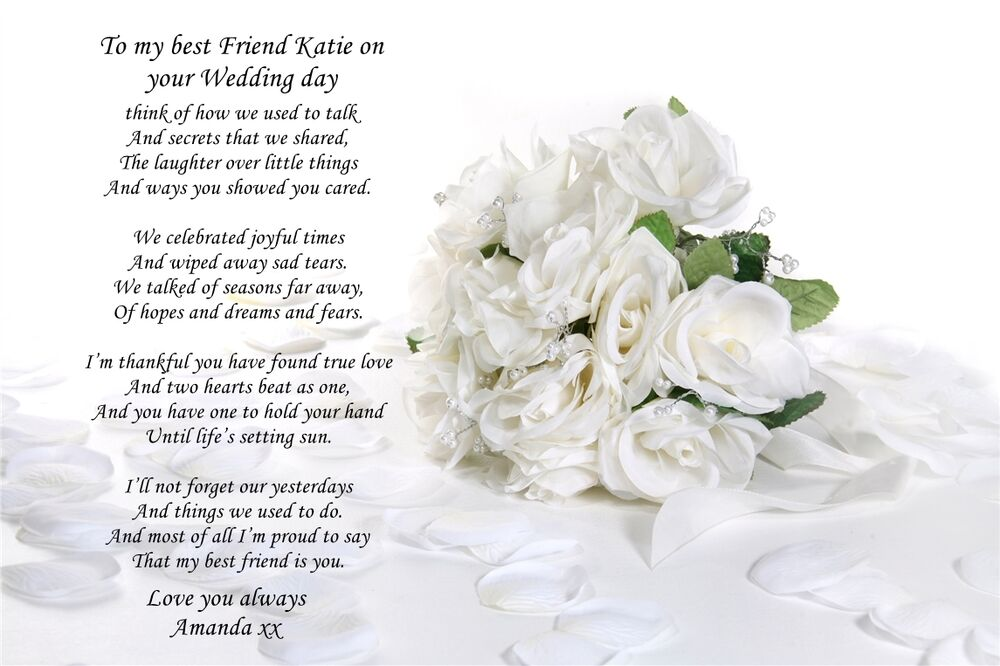 Personalised poem to sister or best friend on wedding day for Best day for a wedding