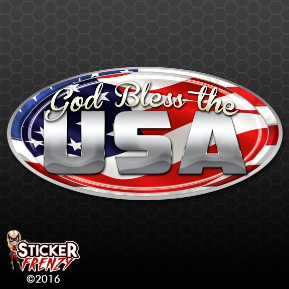 Usa Oval Quot God Bless Quot Decal Fs253 American Flag Car Truck
