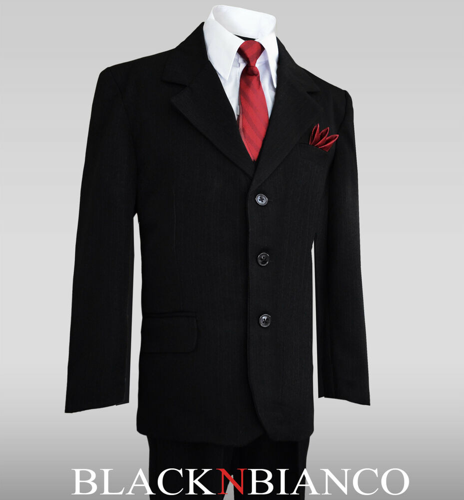 Boys black pinstripe suit with dark red burgundy tie for Black suit burgundy shirt