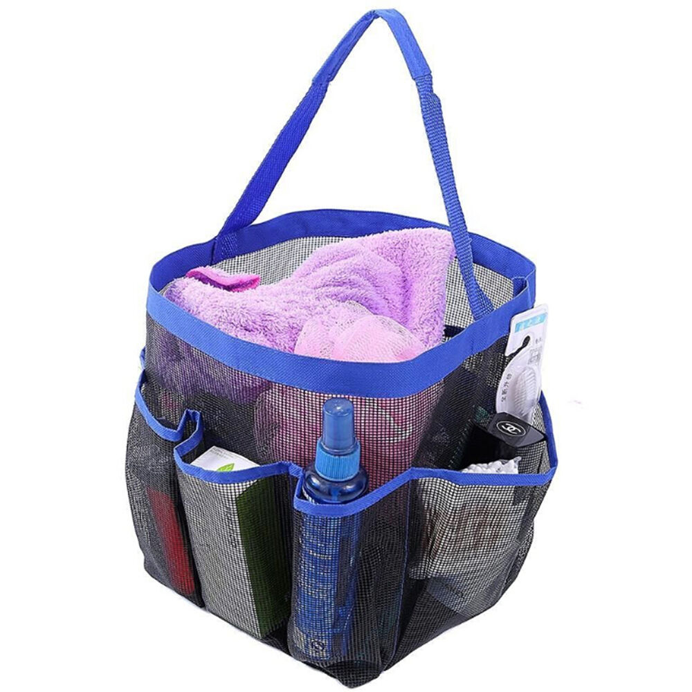 Dorm Bathroom Caddy: Portable Shower Caddy Mesh 8 Pocket Quick Dry Travel Tote