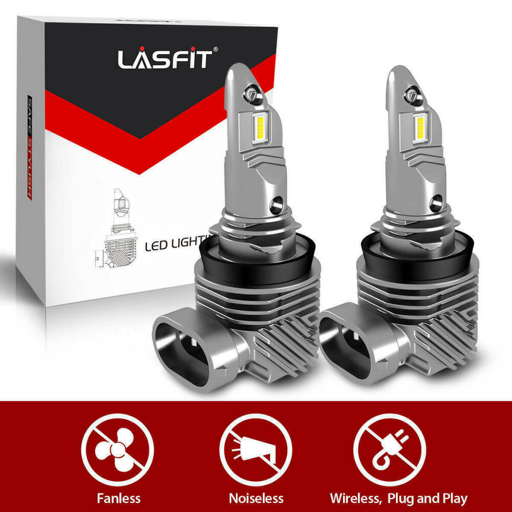 Led Headlight Bulb >> Details About 2x Lasfit Lc6 Series H8 H9 H11 Led Headlight Bulb 6000k Low Beam Replacement Cob