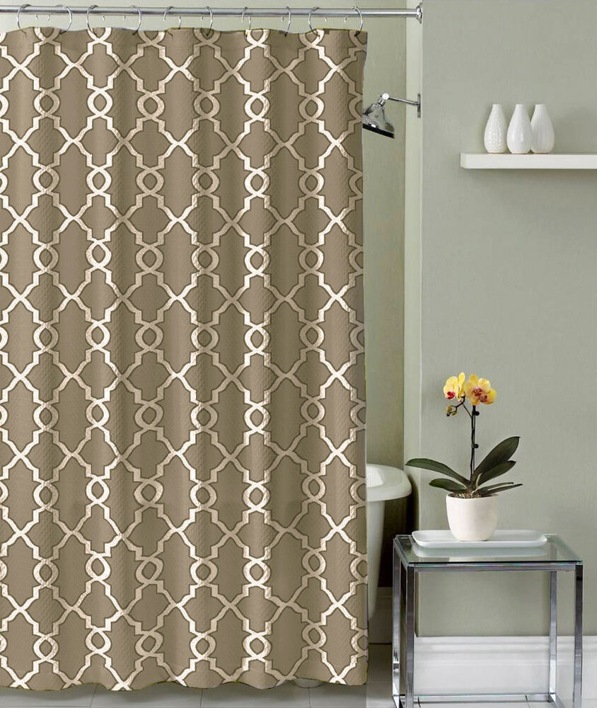 Bathroom Shower Curtain Polyester Fabric Taupe Trellis Design Ebay