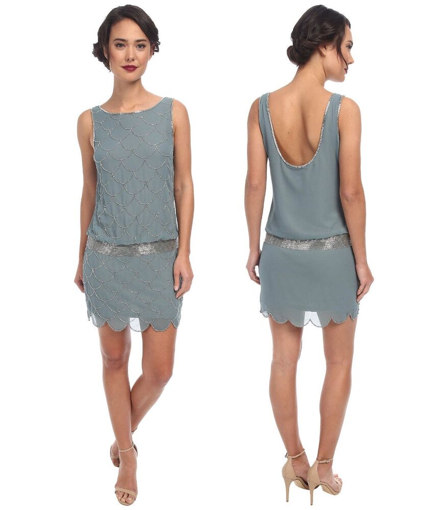ADRIANNA PAPELL 1920s Fish Scale Beaded Party Flapper Dress UK 6 ...