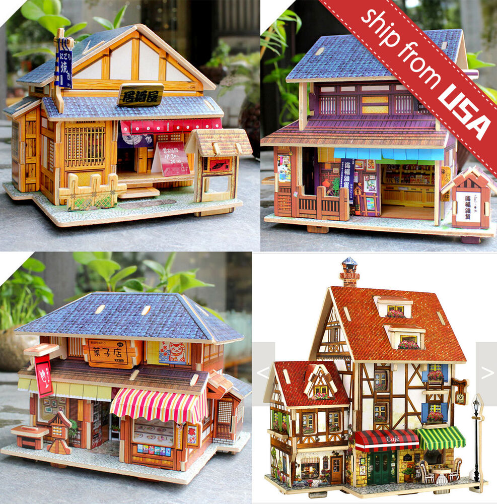 Japanese French Wooden House Dollhouse Miniature DIY Kit