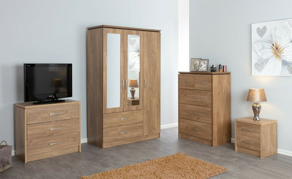 Oak Express Bedroom Sets Bedroom Design Pink Bedroom Ideas Slanted Ceiling White Bed Bedroom: NEW Charles Oak Bedroom Furniture Units Large Wardrobe