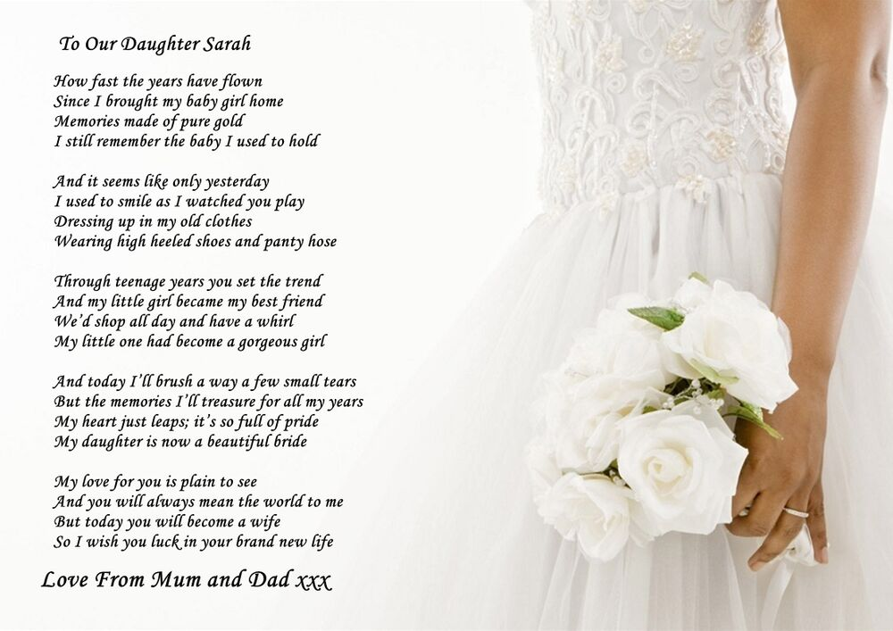 A4 POEM TO YOUR DAUGHTER ON HER WEDDING DAY FROM PARENTS OR PARENT