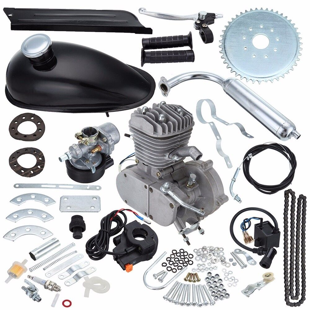 Black 2 Stroke 80cc Gas Bike Engine Motor Kit Diy