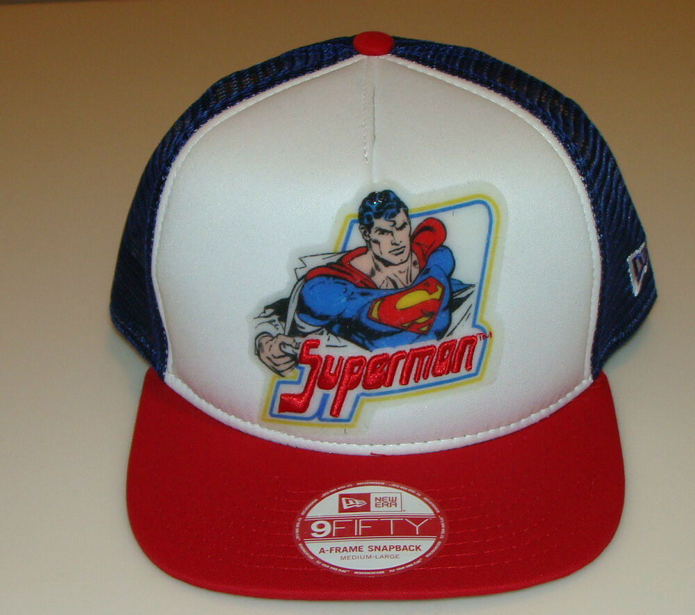 34b32dc50376a Details about Superman New Era Cap Hat Snapback Throwback One Size Fits M L  DC 9Fifty Trucker