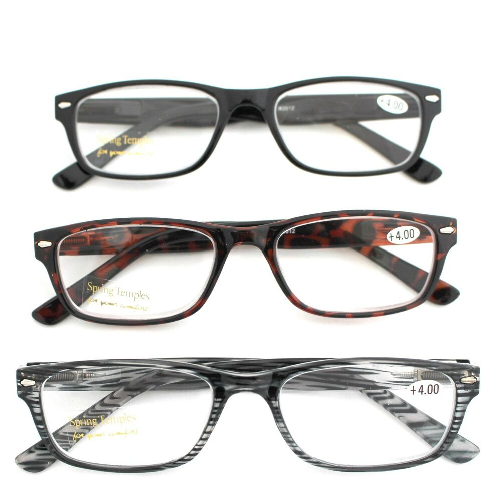 LIGHTWEIGHT READING GLASSES WITH SPRING HINGE +4.00 eBay