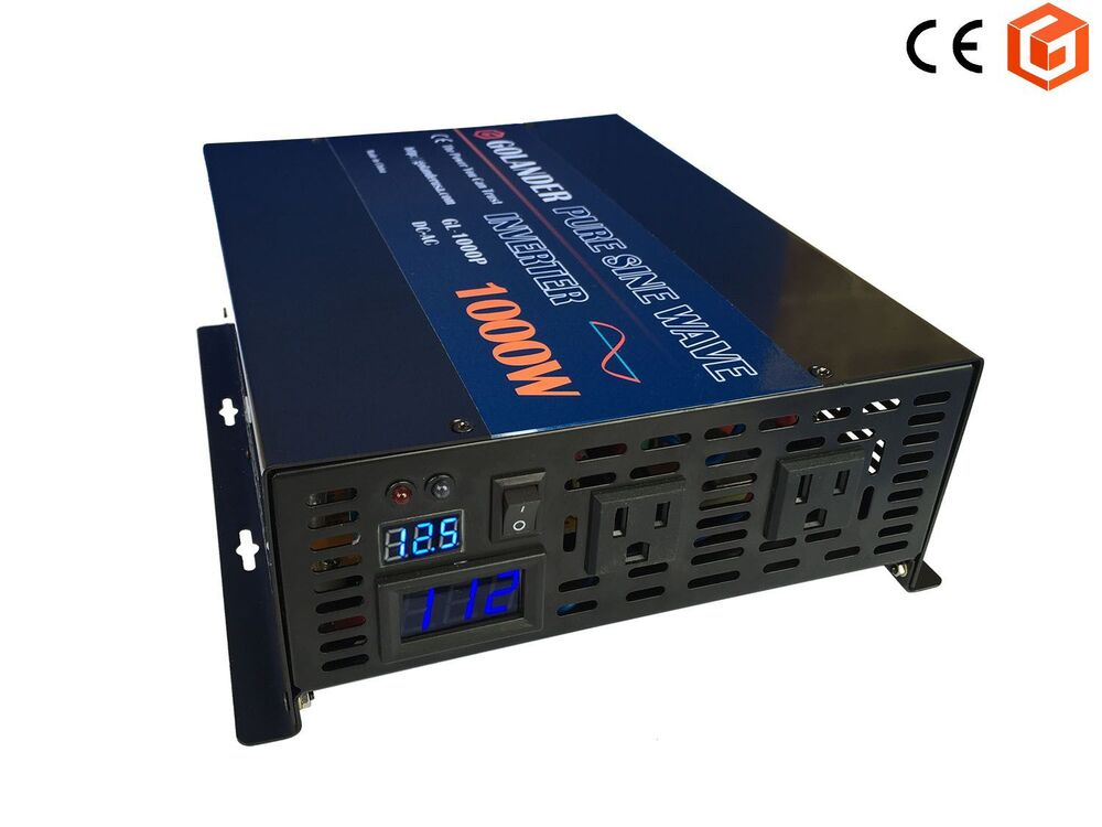 1000w continuous 12v dc to 110v ac pure sine wave inverter ebay. Black Bedroom Furniture Sets. Home Design Ideas