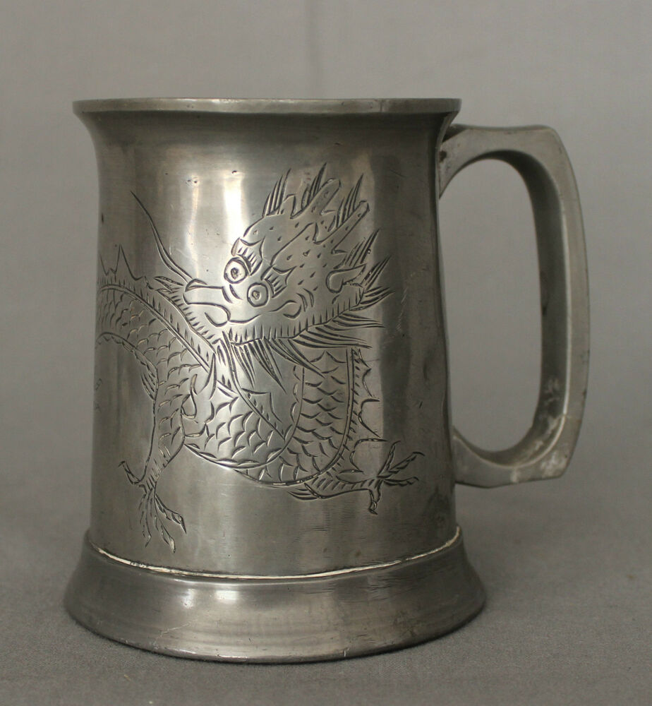 Antique Pewter Mug with Chinese Dragon and Glass Base | eBay