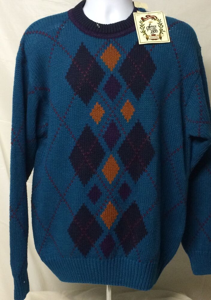 Details about Sears Roebuck Men s Teal Fair Isle Ski Lodge Sweater Blue  Large New With Tags 141e52c32
