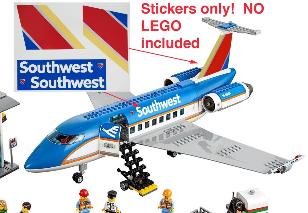 Custom Southwest Stickers For 3182 Passenger Plane Airport For Lego