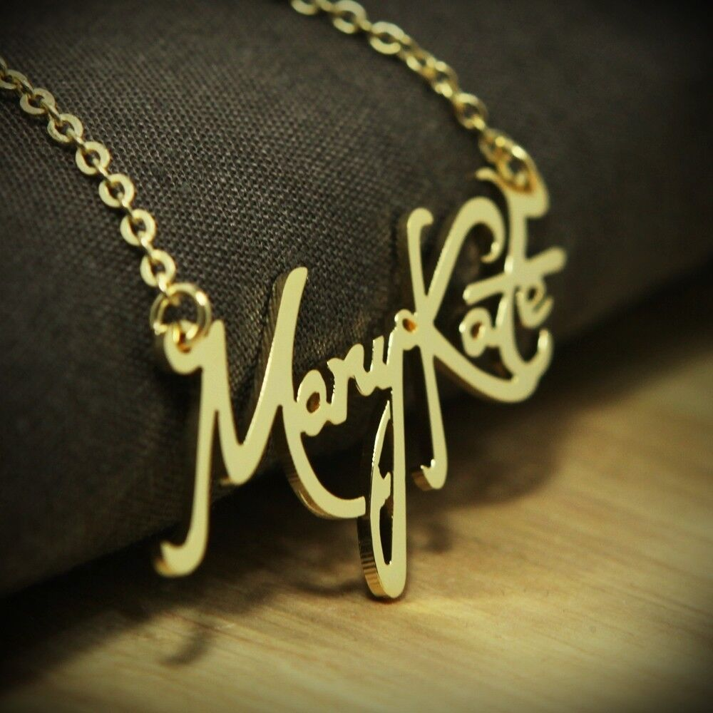new any personalized jewelry name plates initial necklace monogram script font
