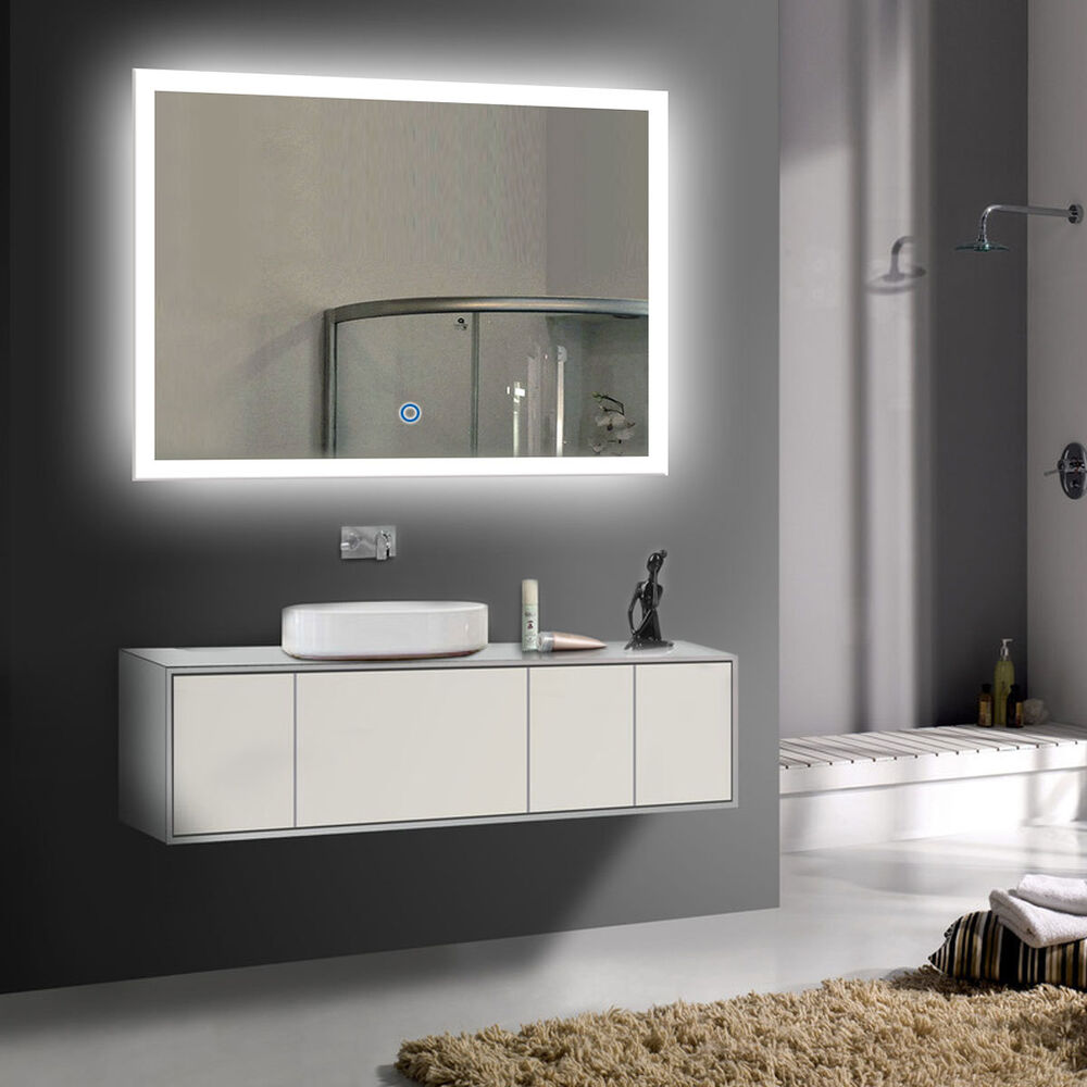 Led bathroom wall mirror illuminated lighted vanity mirror with touch button ebay Bathroom lighted vanity mirrors