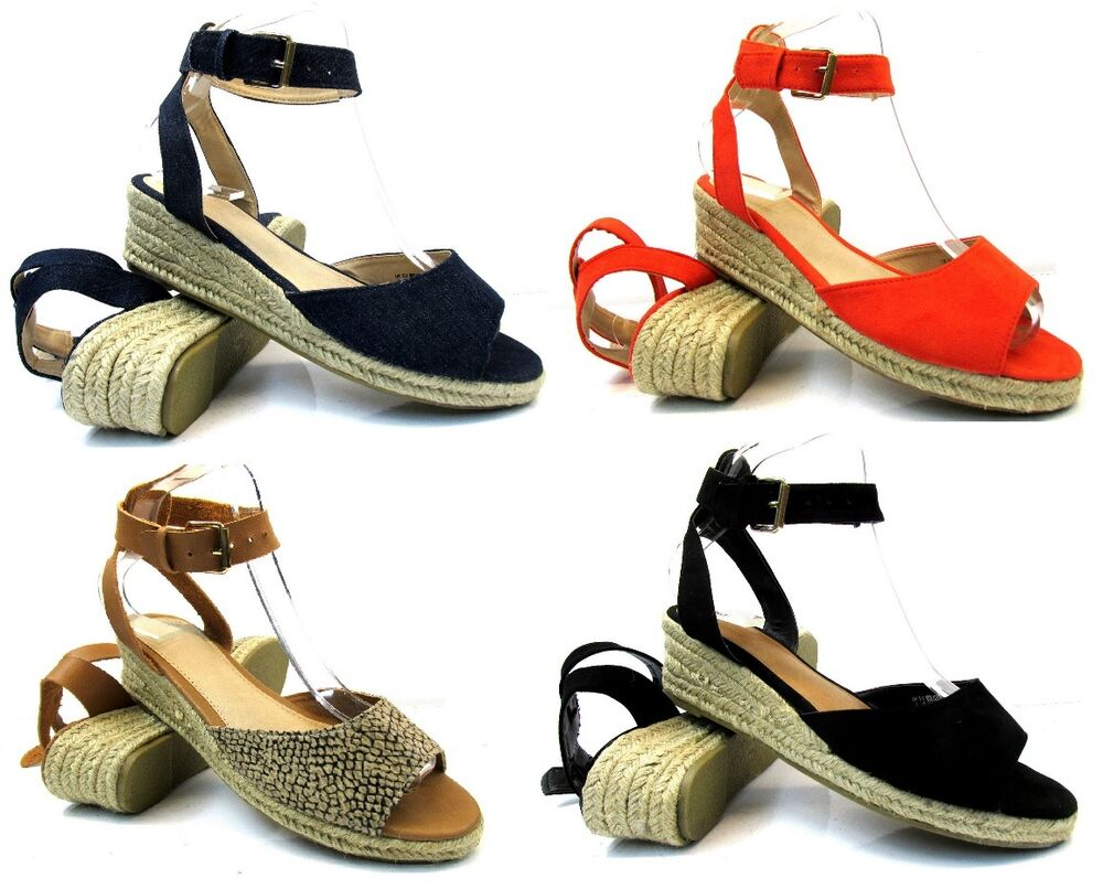 WOMENS NEW FLAT LOW WEDGE HEEL ESPADRILLES SUMMER LADIES ...