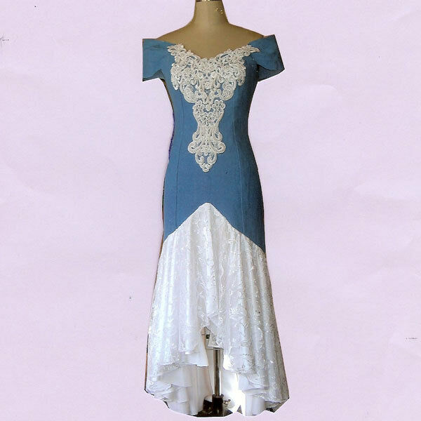 denim and lace wedding dress denim and lace hi lo western wedding dress ebay 3477