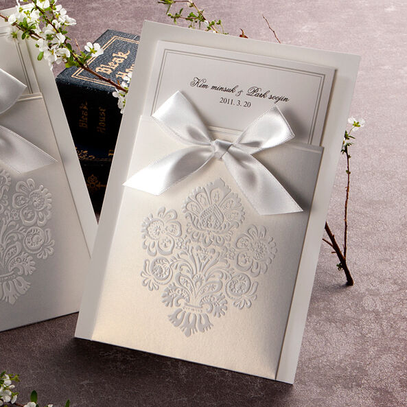 Personalized White Pocket & Ribbon Wedding Invitations