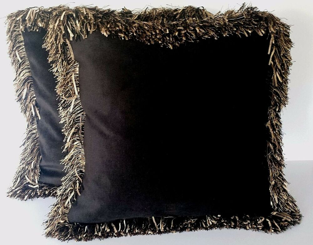 Large Off White Throw Pillows: Large Solid Black Velvet Decorative Throw Pillow With Long