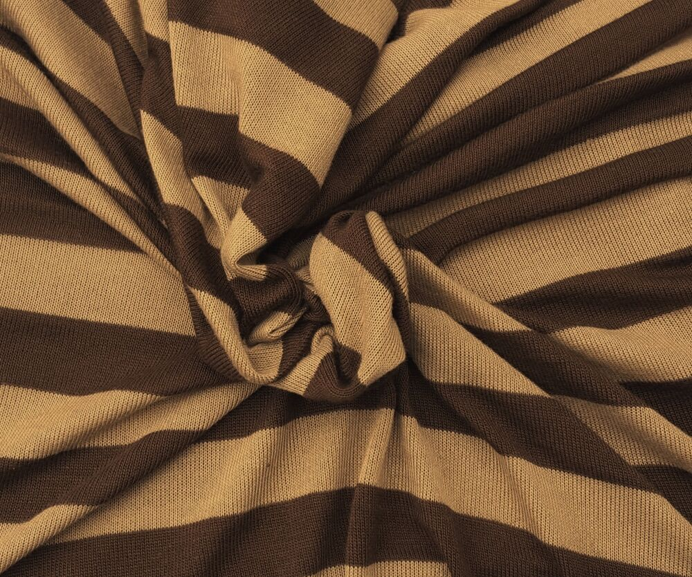 Sweater Knit Brown / Khaki Stripes Fabric by the Yard ...