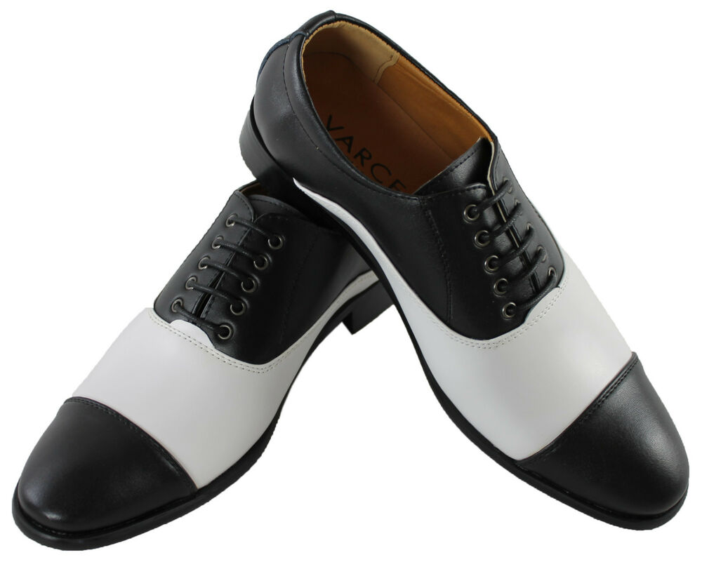 mens black and white brogue gatsby shoes 1920s 1930s