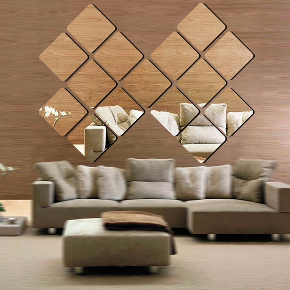 6pc fashion square acrylic 3d mirror effect wall stickers for Wall decor mirror home accents