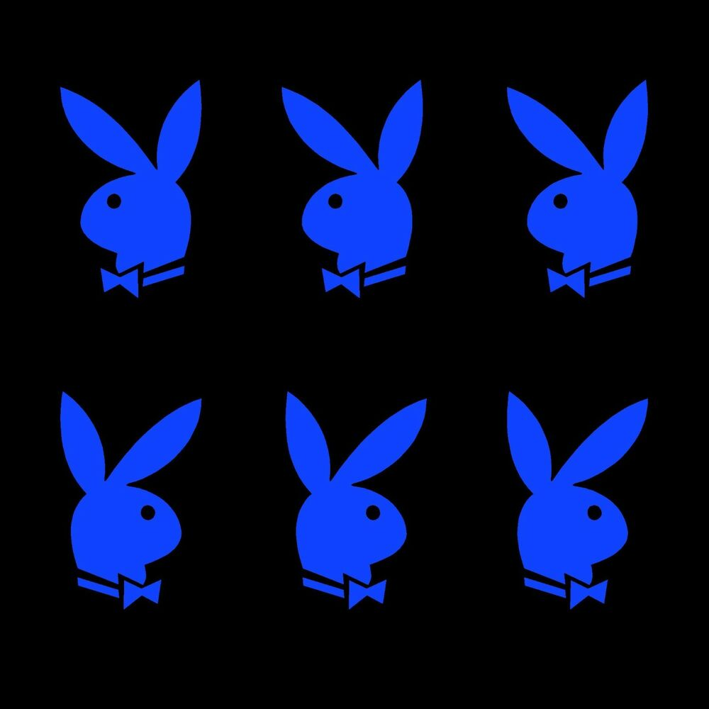 Details about playboy decals stickers 3x2 inch blue vinyl x6