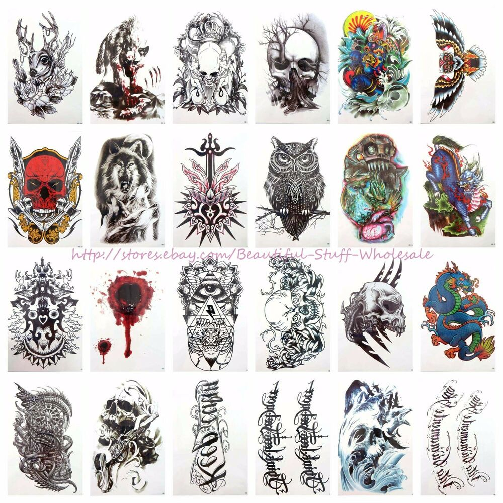 20 sheets wholesale large temporary arm tattoo bulk for Wholesale temporary tattoos