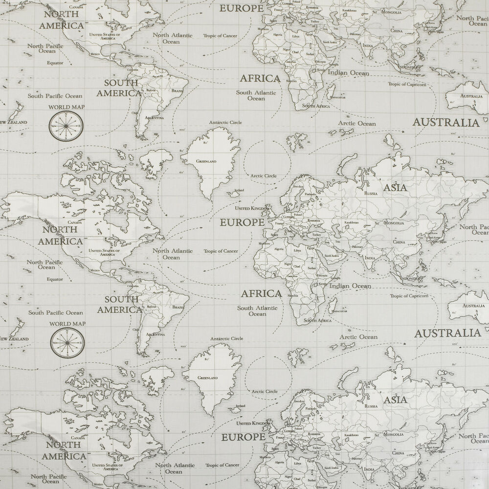 Grey Atlas World Map Oilcloth Tablecloth Wipe Clean Pvc