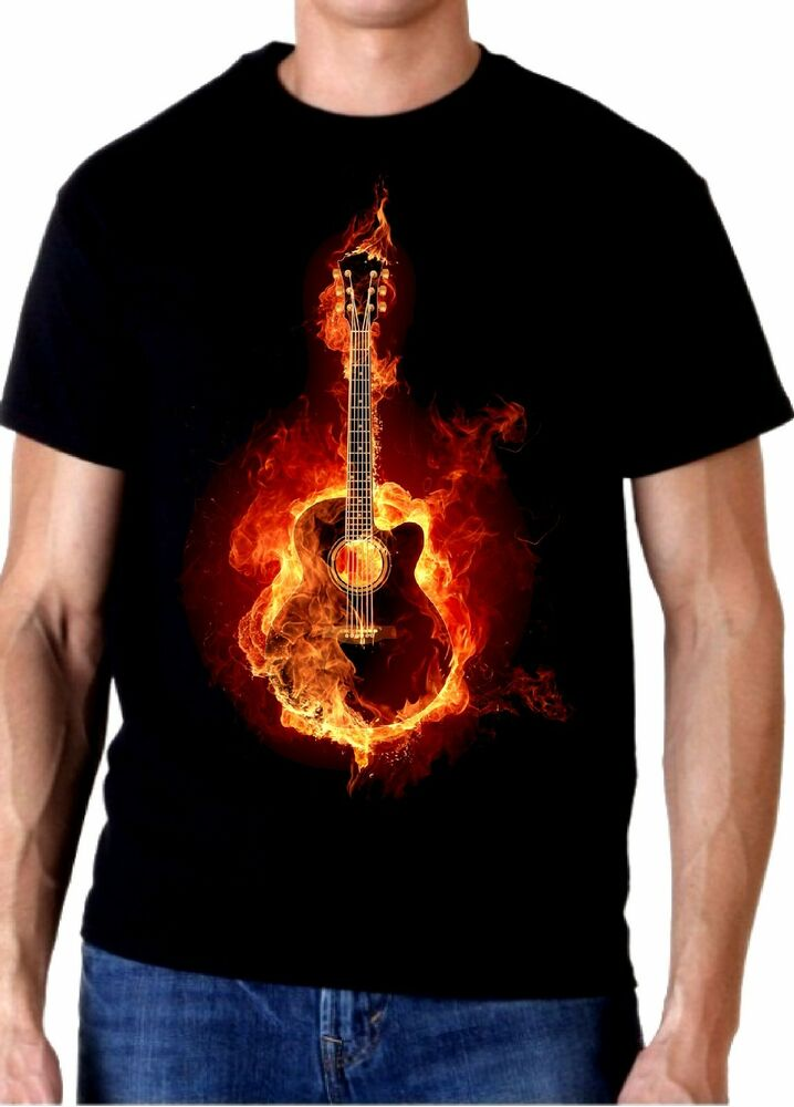 acoustic fire guitar t shirt 100 cotton tee by bmf apparel ebay. Black Bedroom Furniture Sets. Home Design Ideas