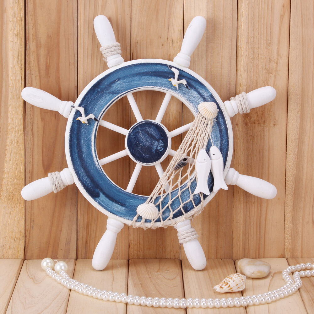 "Nautical Wheel Decor: Big 12""Nautical Decor Beach Wood Boat Ship Steering Wheel"
