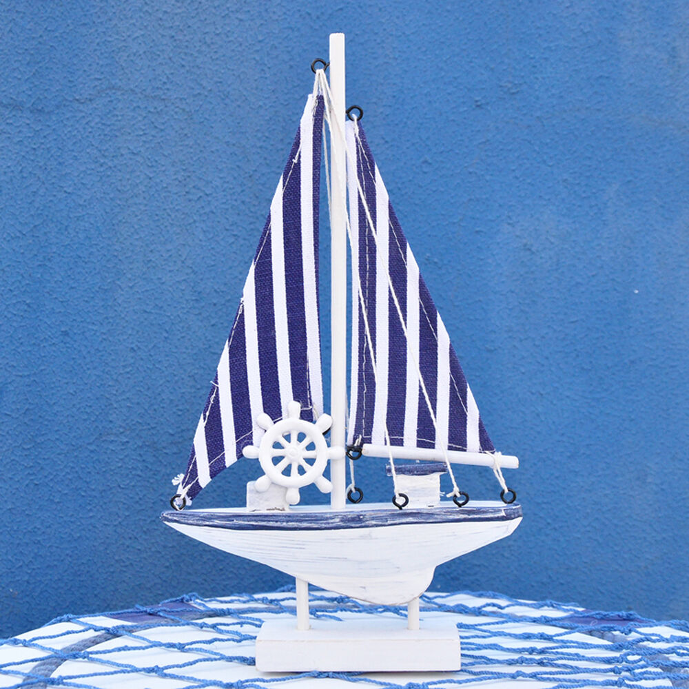 Navy stripe wooden craft nautical decor sailing boat ship for Decoration yacht