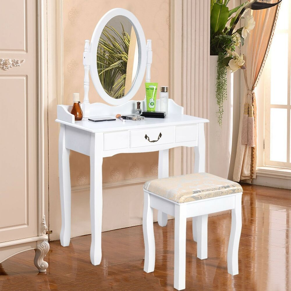 Us Vanity Table Jewelry Makeup Desk Bench Dresser W Stool
