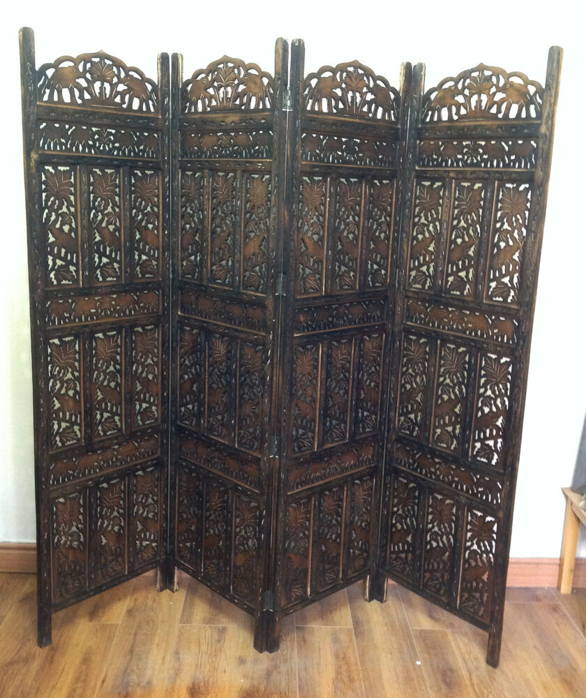 Carved Wood Screens ~ Elephant design hand carved indian panel screen room