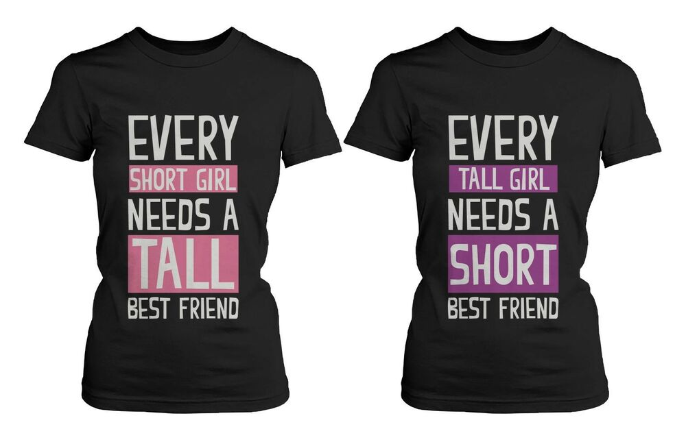 Cute Best Friend Shirts - Short and Tall Matching Black ...